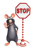 cute Rat cartoon character with stop sign Royalty Free Stock Photos