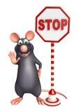 cute Rat cartoon character with stop sign Royalty Free Stock Photos