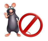 cute Rat cartoon character with stop sign Royalty Free Stock Photography