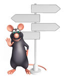 Cute Rat cartoon character  with way sign Royalty Free Stock Photos