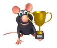 Cute  Rat cartoon character with winning cup Royalty Free Stock Photos