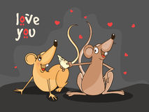 Cute rat couple for Happy Valentines Day celebration. Stock Image