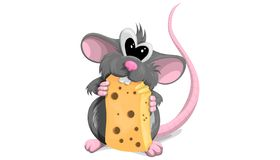 Free Cute Rat With Cheese In Cartoon Style On White Background. Vector Illustration Of The Symbol Of 2020 Stock Photo - 164155230