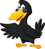 Cute raven cartoon waving Stock Photos