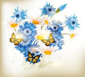 Cute realistic vector bouquet from chamomiles flowers and blue c Stock Images