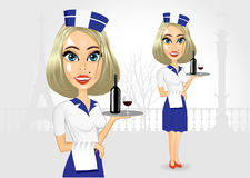 Cute realistic waitress holding serving tray Stock Photo