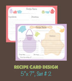 Cute recipe cards, recipe cards decorated with kitchenware elements Royalty Free Stock Photo