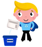Cute recycle superhero boy. Little boy giving newspaper in recycle box. Vector Illustration Stock Photography