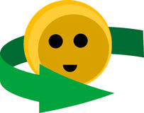 Cute recycling smiley. Illustration of a cute recycling smiley isolated Royalty Free Stock Image