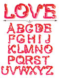 Cute red alphabet. With stars, ABC Royalty Free Stock Photography