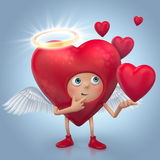 Cute red angel heart cartoon with halo and wings Stock Images