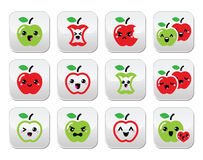 Cute red apple and green apple kawaii buttons set Stock Photos