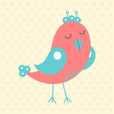Cute red bird, cartoon style Royalty Free Stock Images