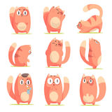 Cute red cartoon cat character with different emotions set of vector Illustrations royalty free illustration
