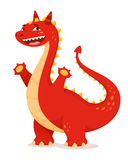 Cute red cartoon dragon with cheerful smile Stock Photos