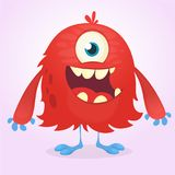 Cute red cartoon monster. Funny  monster with smiling expression. Halloween vector illustration.  Stock Photo