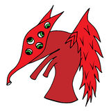 Cute red cartoon monster with many eyes Royalty Free Stock Photo