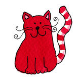 Cute red cat. Acrylic illustration of cute red cat Royalty Free Stock Image