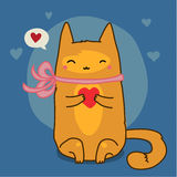 Cute red cat on blue Royalty Free Stock Photo