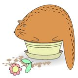 Cute red cat. The pet sits in a potty pot. Animal snatch and holds a flower. Cartoon image. Vector illustration royalty free illustration
