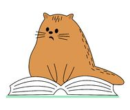 Cute red cat. Pet sitting on the book. The animal is reading and wondering. Cartoon image. Vector illustration royalty free illustration