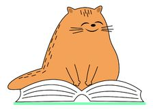 Cute red cat. The pet is sitting on the book. The animal reads and smiles. Cartoon image. Vector illustration stock illustration