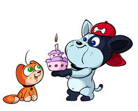 Cute red cat and puppy dog birthday Stock Photography