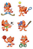 Cute red cat sports set Royalty Free Stock Photo
