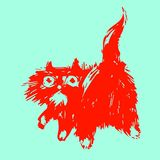 Cute red cat turned and looked. Vector illustration. stock photography