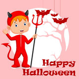 Cute red devil costume Royalty Free Stock Image