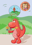 Cute red dragon Stock Images