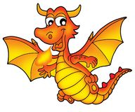 Cute red dragon. Color illustration Royalty Free Stock Photography