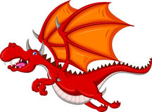 Cute red dragon cartoon flying