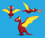 Cute Red Dragon Cartoon Vector Illustration Royalty Free Stock Image
