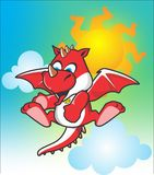 Cute red dragon flying Royalty Free Stock Photos