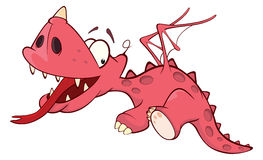 Cute red dragon illustration. Cartoon Stock Photography