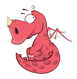 Cute red dragon illustration. Cartoon Stock Images
