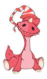 Cute red dragon illustration. Cartoon Royalty Free Stock Photography
