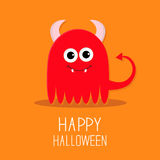 Cute red evil monster with horns and fangs. Happy Royalty Free Stock Photography