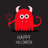 Cute red evil monster with horns, fangs and trident. Happy Halloween card. Flat design Black background Royalty Free Stock Images