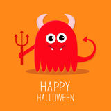 Cute red evil monster with horns, fangs and Royalty Free Stock Image