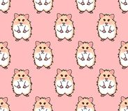 Cute Red Eyes Hamster on Pink Background. Vector Illustration.  stock illustration