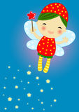 Cute red firefly fairy. With her magic wand flaying on a blue background leaving a stray of magic shiny stars Stock Photography
