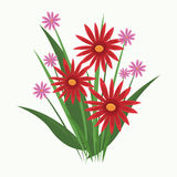 Cute red flower flourish nature. Vector illustration eps 10 vector illustration