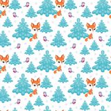 Cute red fox pattern Royalty Free Stock Photos