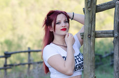 Cute red hair lady outside Royalty Free Stock Photography
