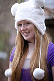 Cute red haired teenager outdoors Stock Images