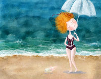 Cute red-head girl with umbrella and little pig on the beach. Sea background.Wallpaper for girl's room, for magazine Stock Images