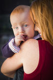 Cute Red Head Infant Boy Portrait with His Mother Royalty Free Stock Image