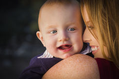 Cute Red Head Infant Boy Portrait with His Mother Royalty Free Stock Photos